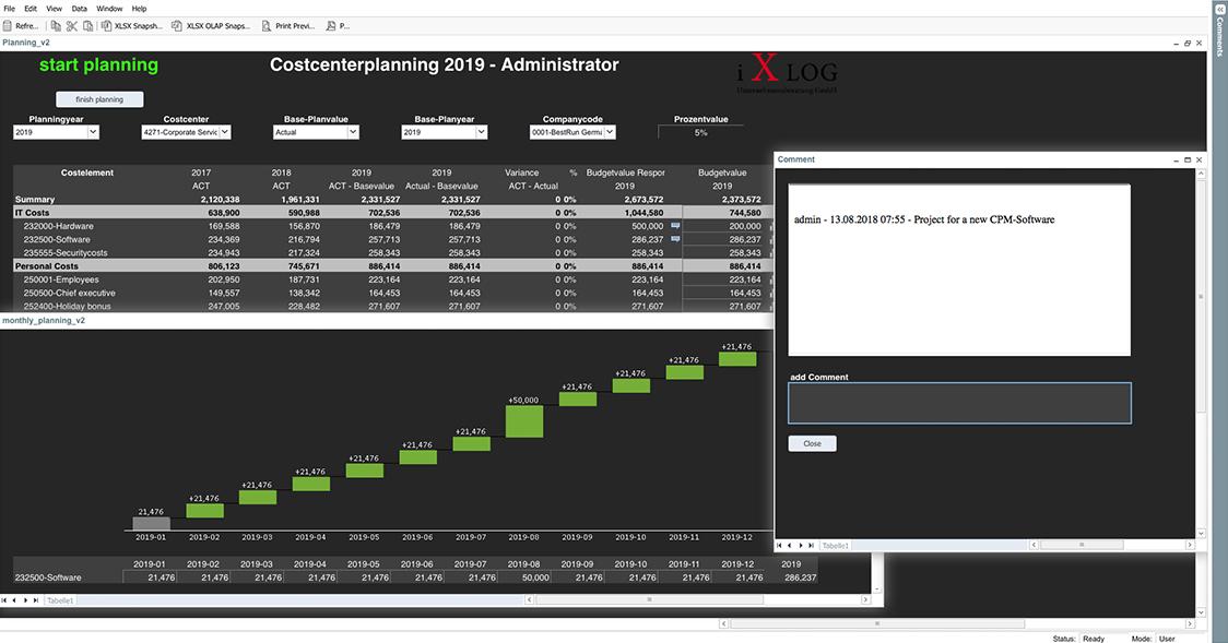 iXLOG Kostenstellenplanung Planungsmaske