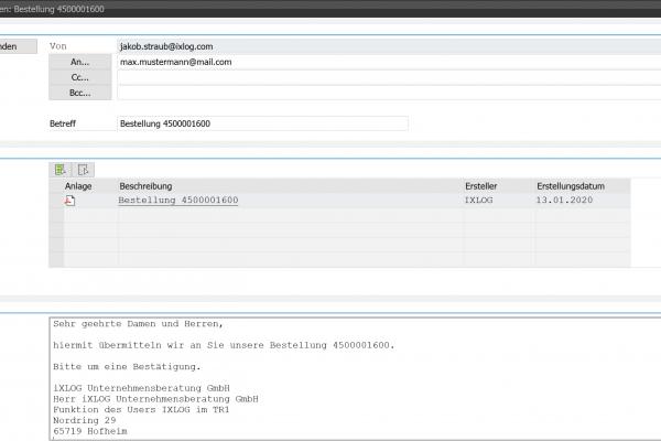 Mailversand generische Objektdienste Mailtext