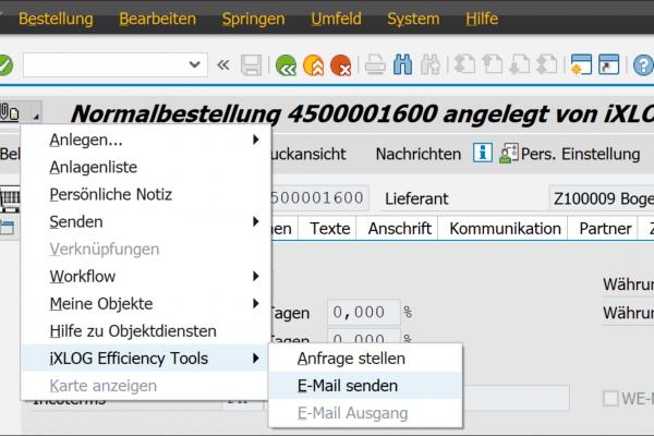 Mailversand generische Objektdienste E-Mail senden